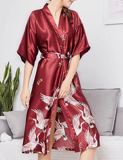 cheap Pajamas-Women's Deep V Robes Pajamas Geometric