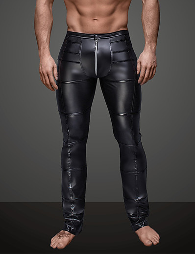 cheap Men's Bottoms-Men's Daily / Club Sporty / Basic Legging - Solid Colored, Ruched Mid Waist Black L XL XXL / Punk & Gothic