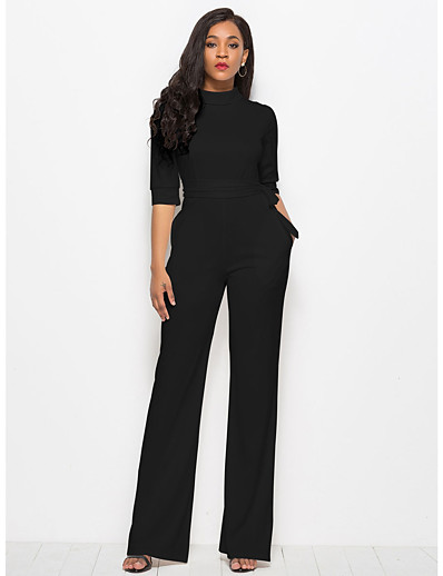 cheap Jumpsuits & Rompers-Women's Plus Size Streetwear Daily White Black Red Jumpsuit Solid Colored / Wide Leg / Sexy