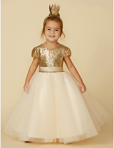 e642aaa685 ADOR Princess Floor Length Flower Girl Dress - Tulle   Sequined Short Sleeve  Jewel Neck with Sequin   Sash   Ribbon