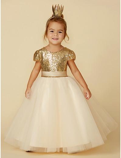 9d0eafefa82 ADOR Princess Floor Length Flower Girl Dress - Tulle   Sequined Short Sleeve  Jewel Neck with Sequin   Sash   Ribbon