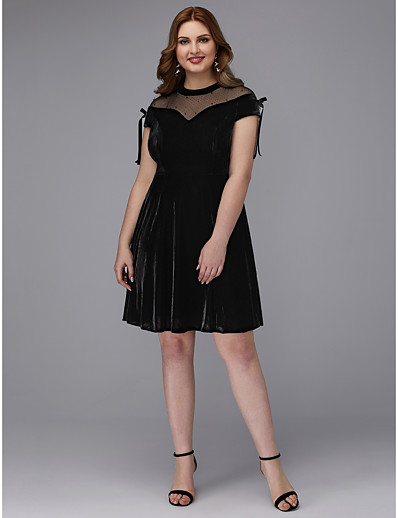 7675cf666a1 ADOR Cocktail Dresses Plus Size A-Line Jewel Neck Short   Mini Velvet with  Bow(s)   Crystals