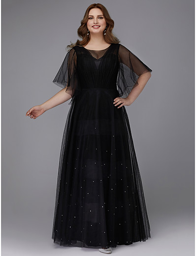 b9d2d4cf919 ADOR Prom Dresses Plus Size A-Line Illusion Neck Floor Length Tulle with  Beading   Pleats