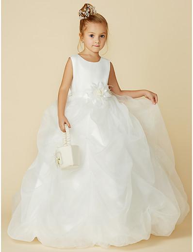 1d6daa96e527f ADOR Ball Gown Floor Length Flower Girl Dress - Organza   Satin Sleeveless  Jewel Neck with Bow(s)   Sash   Ribbon   Flower
