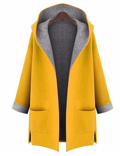 cheap Best Sellers-Women's Going out Street chic Fall Plus Size Long Coat, Solid Colored Hooded Long Sleeve Polyester Yellow / Red