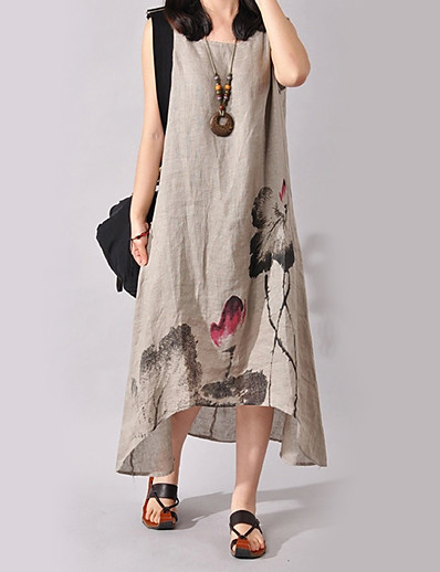 cheap Mother Dresses-Women's Floral Plus Size Weekend Chinoiserie Asymmetrical Dress - Floral Print Summer Cotton Wine White Blue S M L XL / Loose