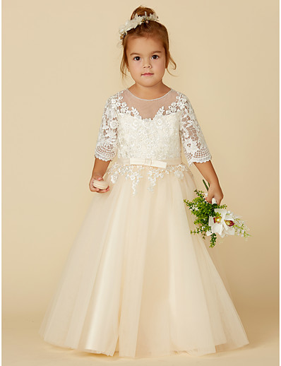 33c61acd9 ADOR Princess Floor Length Flower Girl Dress - Lace / Tulle Half Sleeve Illusion  Neck with Appliques / Bow(s) / Buttons