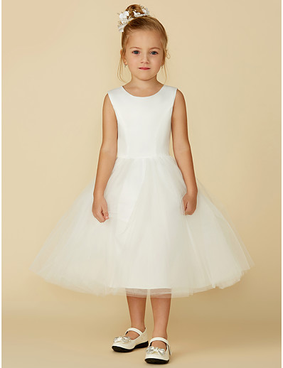 cdd5ee3aaf26 ADOR Princess Tea Length Flower Girl Dress - Satin / Tulle Sleeveless Jewel  Neck with Lace