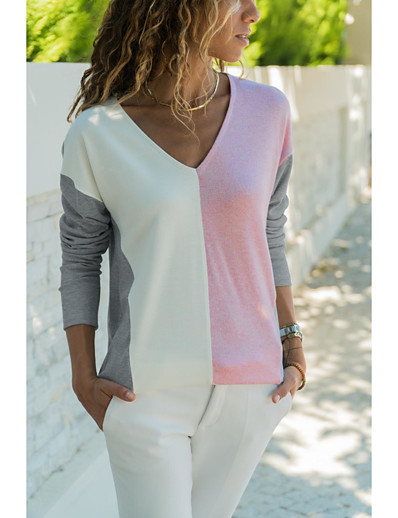 cheap TOPS-Women's Daily Basic Blouse - Solid Colored Patchwork Blushing Pink