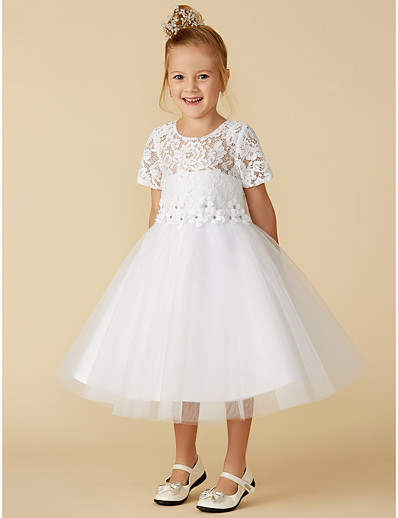 f9ed38baf50 ADOR Princess Tea Length Flower Girl Dress - Lace   Tulle Short Sleeve Jewel  Neck with Lace
