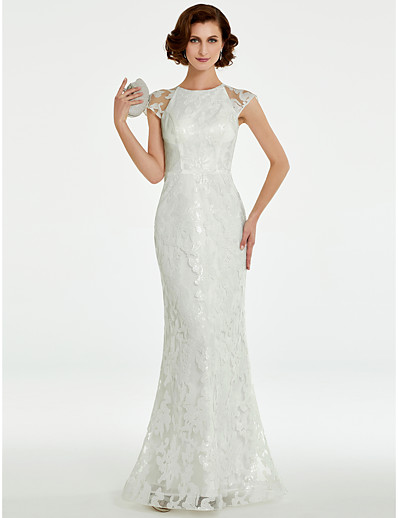 24406bfd124 ADOR Sheath   Column Jewel Neck Floor Length Lace Mother of the Bride Dress  with Beading   Lace