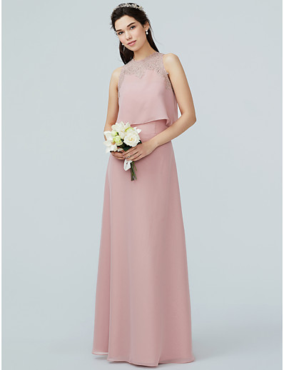5316c58a0d ADOR A-Line Strapless Floor Length Chiffon   Lace Bridesmaid Dress with  Appliques