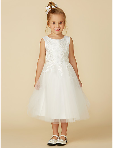 2daaee23c23 ADOR A-Line Tea Length Flower Girl Dress - Lace   Tulle Sleeveless Jewel  Neck with Lace