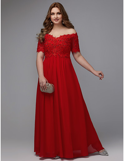 34173af0f35 ADOR Prom Dresses Plus Size A-Line Off Shoulder Floor Length Chiffon with  Beading   Lace Insert