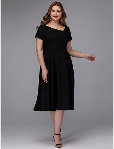 42aff274035 ADOR Cocktail Dresses Plus Size A-Line Square Neck Tea Length Chiffon with  Pleats