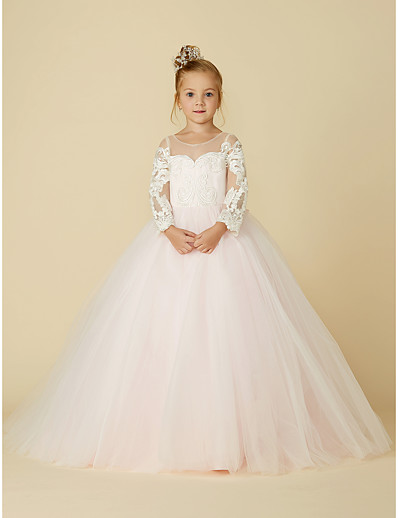 2756fa9d20e ADOR Ball Gown Court Train Flower Girl Dress - Lace   Tulle Long Sleeve  Illusion Neck with Appliques   Bow(s)   Buttons