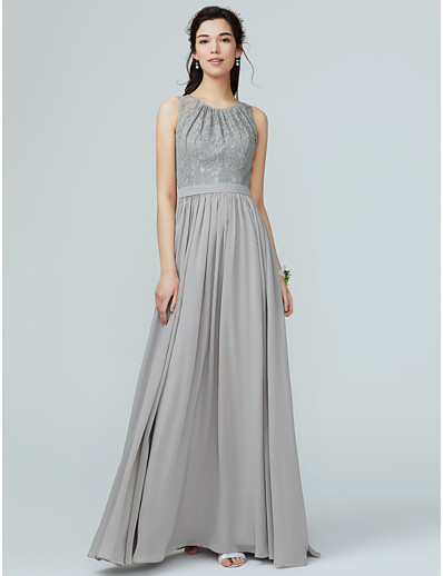 c6851699569 ADOR A-Line Jewel Neck Floor Length Chiffon   Lace Bridesmaid Dress with  Lace   Sash   Ribbon   Pleats