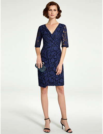 23746ad2a20 ADOR Sheath   Column V Neck Knee Length Lace Mother of the Bride Dress with  Ruching