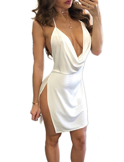 cheap Party Dresses-Women's Strap Dress Short Mini Dress White Black Red Wine Army Green Sleeveless Split Hot Sexy S M L XL