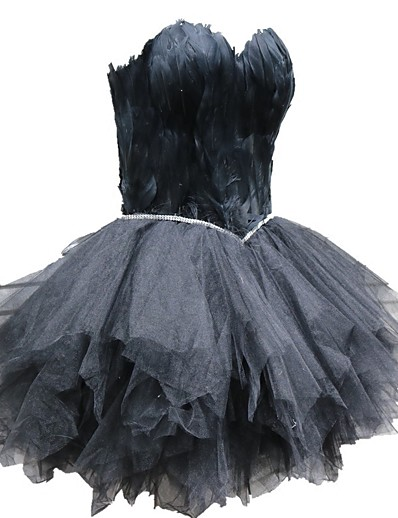 cheap Historical & Vintage Costumes-Black Swan Little Black Dress Elegant Vacation Dress Dress Masquerade Prom Dress Women's Tulle Costume White / Black / Red Vintage Cosplay Sleeveless Homecoming