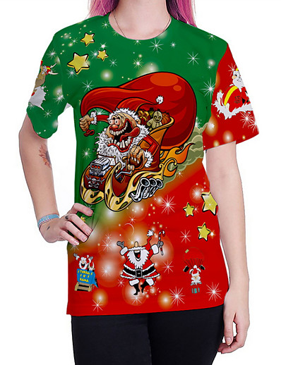 cheap TOPS-Women's Christmas Daily Street chic T-shirt - Cartoon Red