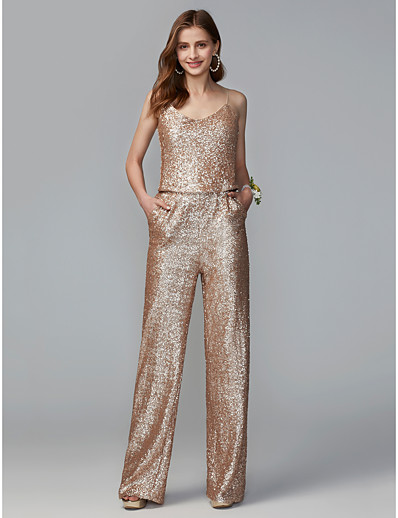 f24bf863e019 ADOR Jumpsuits Spaghetti Strap Floor Length Sequined Bridesmaid Dress with  Sequin   Two Piece