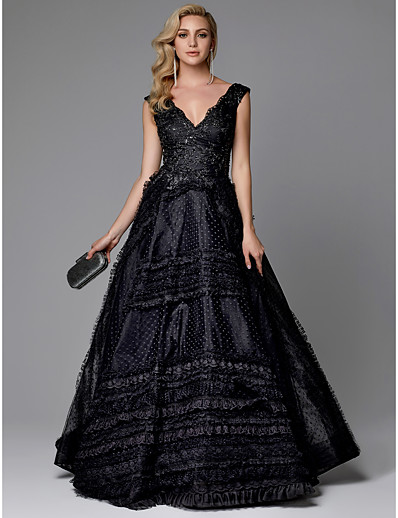 bff9f137317 ADOR Evening Dress A-Line V Neck Sweep   Brush Train Lace   Tulle with  Beading   Lace Insert