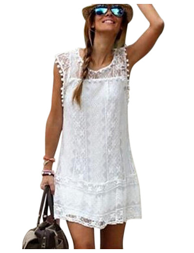 cheap Boho Dresses-Women's Lace Weekend Mini Shift Dress - Solid Colored White, Lace Summer Black White Red S M L XL