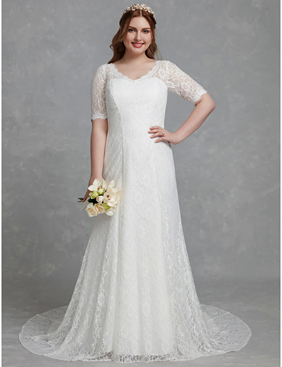 Simple Outdoor Wedding Dresses with Sleeves No Train