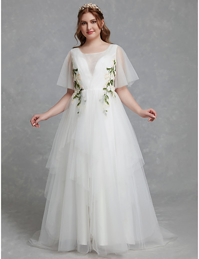 670874105ee ADOR Plus Size A-Line Jewel Neck Sweep   Brush Train Tulle Wedding Dresses  with Lace