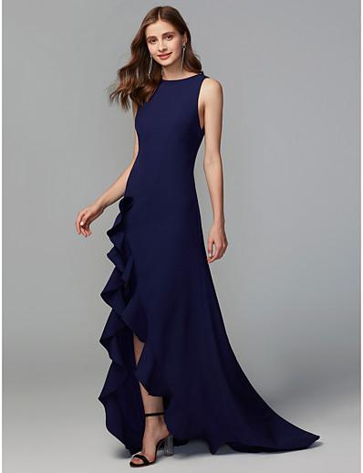 eddf2cb373a91 ADOR A-Line Jewel Neck Asymmetrical Chiffon Bridesmaid Dress with Split  Front / Ruffles