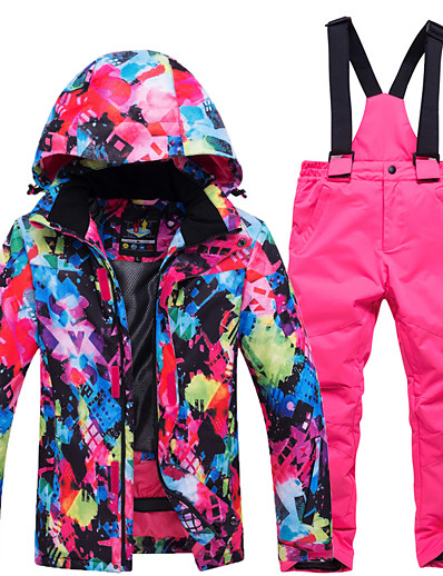 cheap Ski & Snowboard-fashion Boys' Girls' high waterproof windproof snowboard colorful printed ski jacket and pants