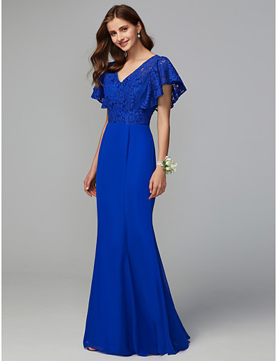 b459089d2b ADOR Sheath   Column V Neck Floor Length Chiffon   Lace Bridesmaid Dress  with Lace