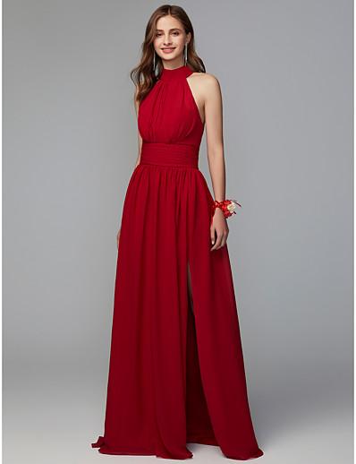 69210cccbb3f ADOR A-Line High Neck Floor Length Chiffon Bridesmaid Dress with Split  Front / Pleats