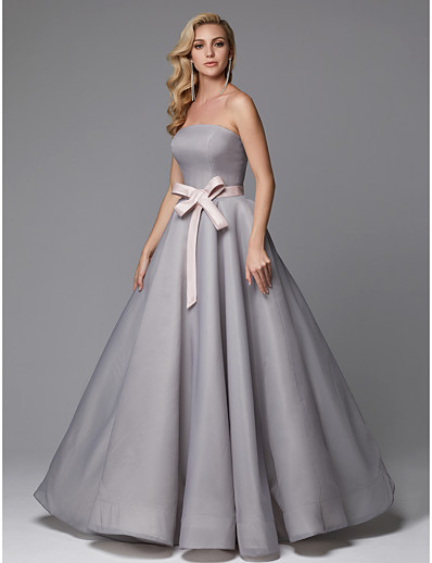 679a03e8ef4 ADOR Prom Dress Ball Gown Strapless Floor Length Tulle with Bow(s)