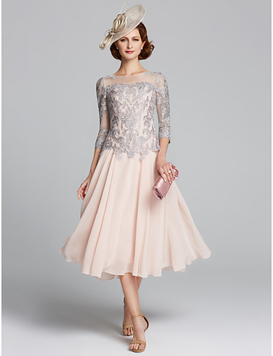 29c1c0d7ea9 ADOR A-Line Jewel Neck Tea Length Chiffon   Lace Mother of the Bride Dress  with Beading   Lace