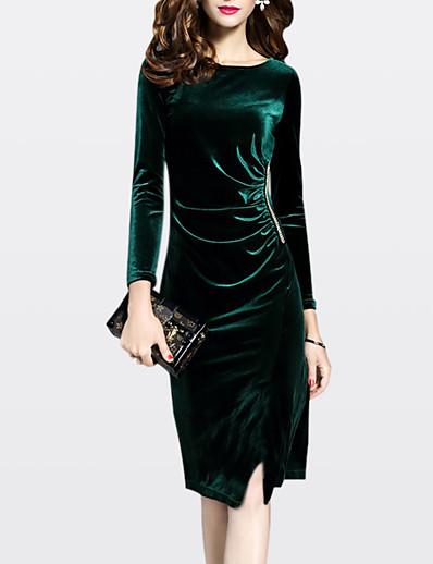 cheap Work Dresses-Women's Velvet Plus Size Going out Sheath Dress - Solid Colored Fall Velvet Green Black XL XXL XXXL