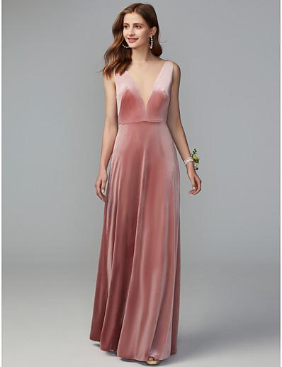 91582255cb ADOR Sheath   Column Illusion Neck Floor Length   Maxi Velvet Bridesmaid  Dress with Draping   Open Back