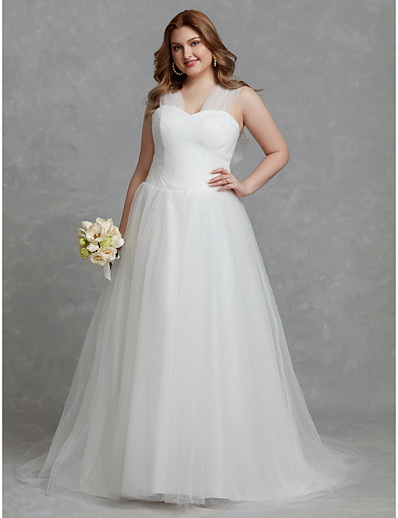 837afbb8c ADOR Plus Size A-Line V Neck Court Train Tulle Wedding Dresses with Ruched