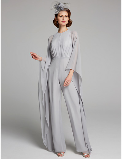 1d43e28d034 ADOR Jumpsuits Jewel Neck Floor Length Chiffon Mother of the Bride Dress  with Ruching