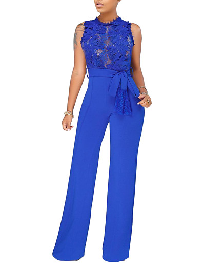 cheap JUMPSUITS & ROMPERS-Women's Basic Streetwear Daily Going out Black Blue Wine Jumpsuit Solid Colored Lace Trims High Waist / Wide Leg