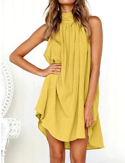 cheap Casual Dresses-Women's Mini Yellow Green Dress Basic Daily Shirt Crew Neck S M / Cotton