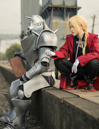 cheap Anime Cosplay-Inspired by Edward Elric Fullmetal Alchemist Anime Cosplay Costumes Japanese Patchwork Cosplay Suits Coat Vest Pants Long Sleeve For Men's / Cloak