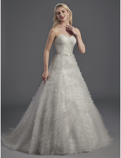 0257c182d1d ADOR Evening Dress A-Line Strapless   Sweetheart Neckline Sweep   Brush  Train   Court Train Tulle with Beading