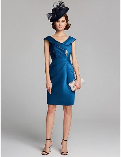 435cb2cc8c7 ADOR Sheath   Column V Neck Knee Length Satin Mother of the Bride Dress  with Crystals   Ruching