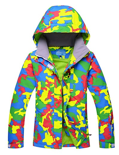 cheap Ski & Snowboard-Women's Ski Jacket Winter Sports Windproof Rain Waterproof Warm Polyester Winter Jacket Top Ski Wear / Camo / Camouflage