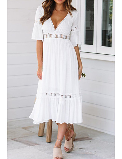 cheap DRESSES-Women's Swing Dress Midi Dress - Half Sleeve Solid Colored Summer Spring & Summer V Neck Hot Beach vacation dresses Flare Cuff Sleeve 2020 White S M L XL / Sexy