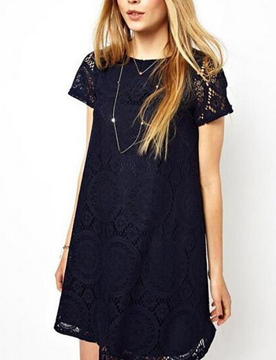 cheap Elegant Dresses-Women's Lace Plus Size Going out Weekend Sophisticated Loose Lace Dress - Solid Colored Summer Navy Blue Red Green XXL XXXL XXXXL