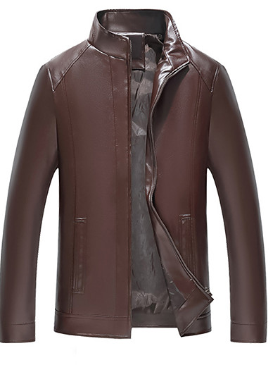 cheap FLASH SALE-Men's Daily Basic Spring &  Fall / Fall & Winter Plus Size Regular Leather Jacket, Solid Colored Stand Long Sleeve PU / Polyester Brown / Black