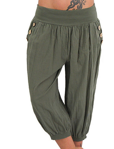 cheap Pants & Skirts-Women's Basic Plus Size Daily Chinos Pants - Solid Colored Gray Light Blue Army Green XXXL XXXXL XXXXXL